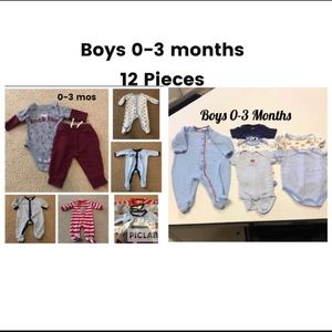 Other - Baby Boy 0-3 Month Lot Of 12 Pieces